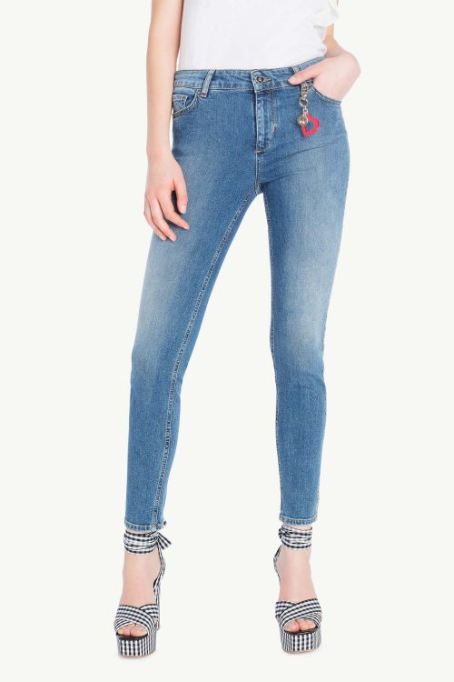 jeans skinny donna in denim con banda laterale in micro strass