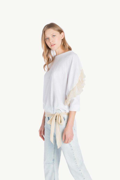 Maxi T-shirt donna in jersey di cotone, maniche a kimono con balze in cremponne, fusciacca al fondo