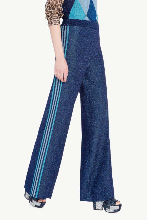 Pantalone donna in maglia lurex con bande multicolor ai fianchi