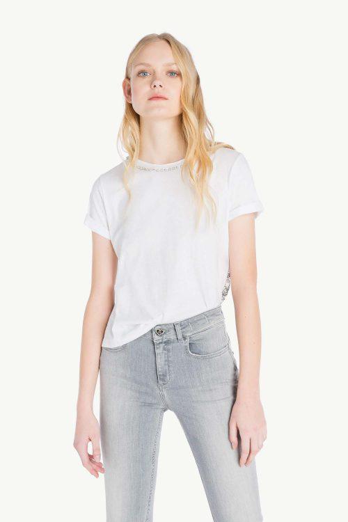 t-shirt bianco donna con retro in pizzo