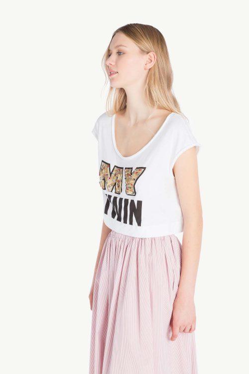 Top cropped donna in jersey di cotone, maniche ad aletta e stampa logo con ricamo
