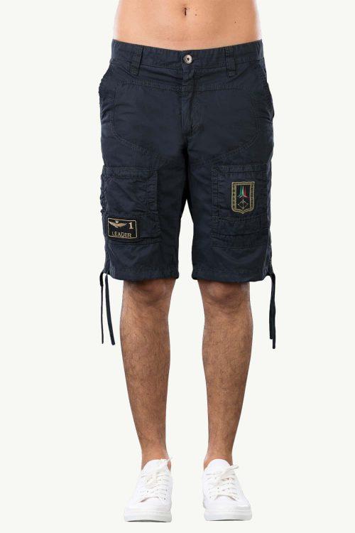 Bermuda da uomo blu con laccetti sul ginocchio