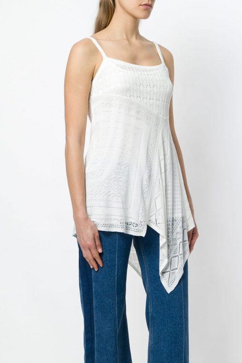 Blusa donna ricamata colore bianco madreperla senza maniche