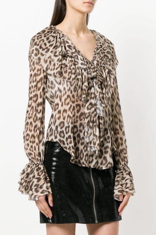 Blusa donna con stampa leopardo
