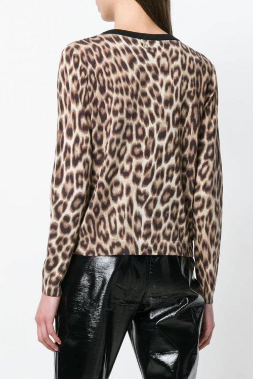 Cardigan donna con stampa leopardo in cotone