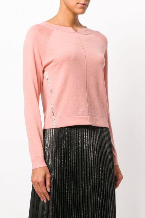Maglia donna in cotone, girocollo e strass applicati