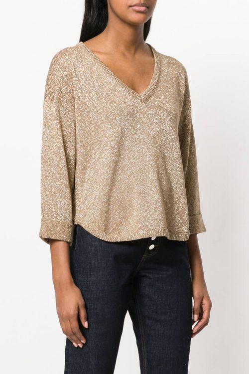 Maglione donna camel effetto glitter