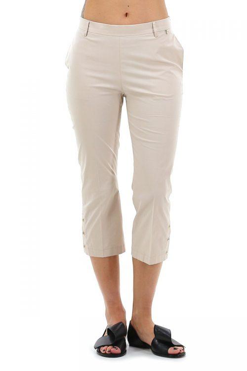 Pantalone donna cropped colore beige dune con spacco con automatici