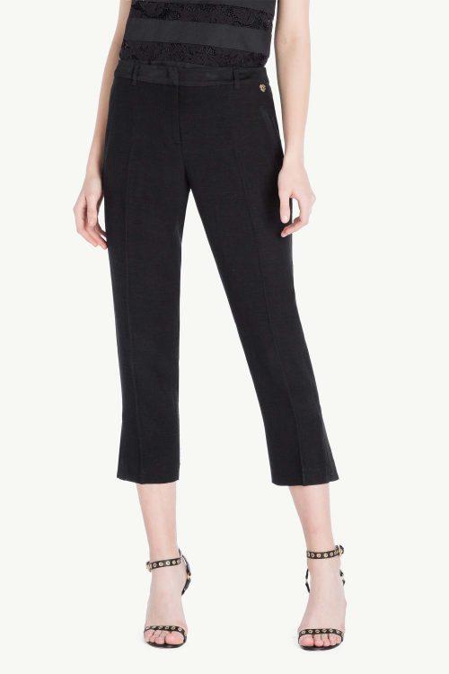 Pantalone donna a sigaretta in lino envers satin, colore nero, spacchi laterali al fondo