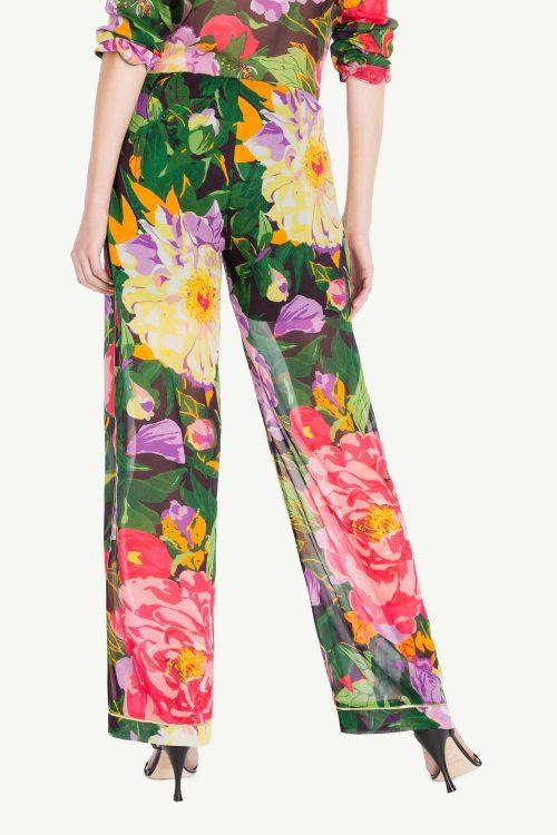 Pantalone palazzo donna in georgette di viscosa con stampa fiori