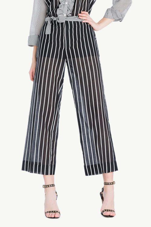 Pantalone donna cropped in mussola di cotone e seta stampata, dalla linea ampia