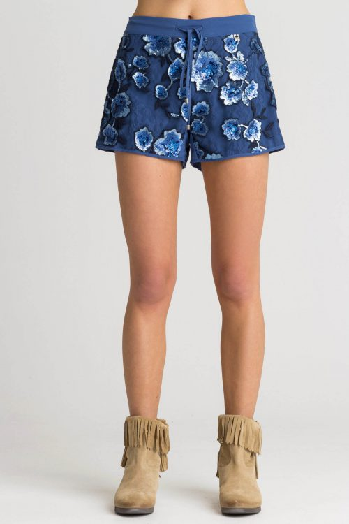 Shorts donna in pizzo, motivo floreale e paillettes