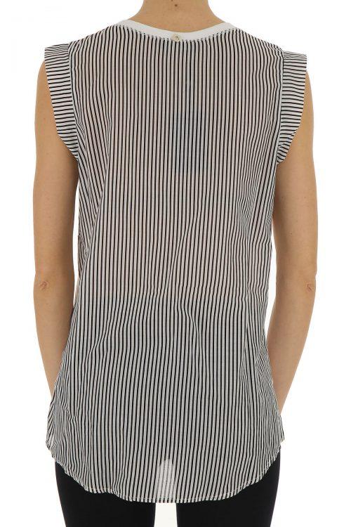 T-shirt donna senza maniche, dettaglio righe e strass