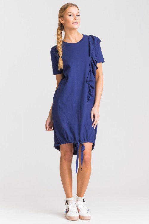 T-shirt rouches donna con applicazione strass fronte e retro