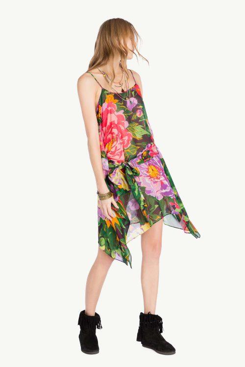 Top lungo donna in georgette di viscosa con stampa fiori
