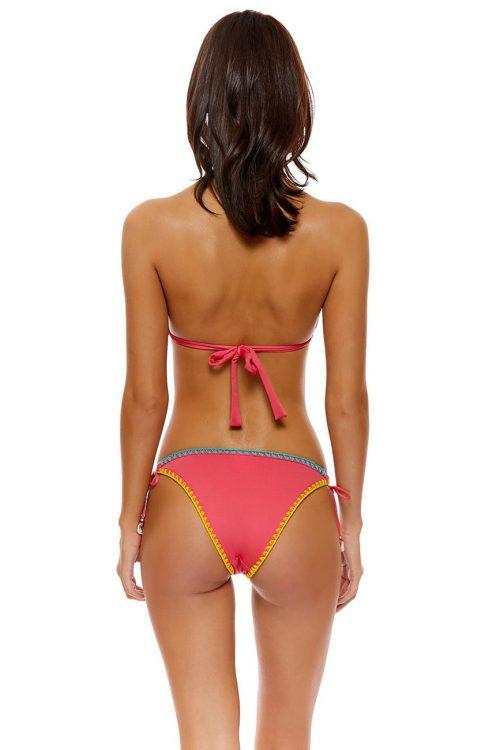 Costume da donna due pezzi, triangolo e slip con fiocchi, cuciture a contrasto, colore rosa