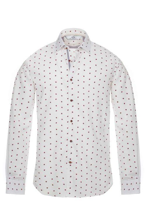 Camicia uomo in cotone modello slim fit decorazione coccinelle