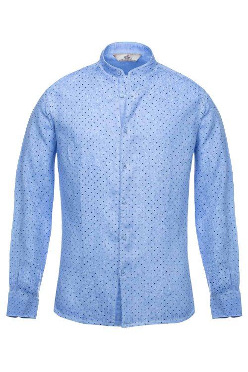 Camicia azzurra uomo in lino modelli slim fit collo coreana stampa pois