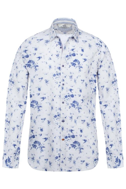 Camicia uomo in lino modello slim fit collo francese stampa floreale