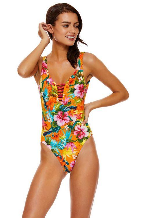 Costume intero donna con scollo posteriore a V e laccetti, colore arancione, stampa tropicale