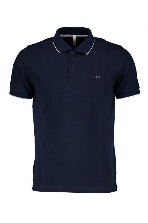 Polo da uomo a maniche corte, colore blu navy, con bordino sottile a contrasto sul colletto