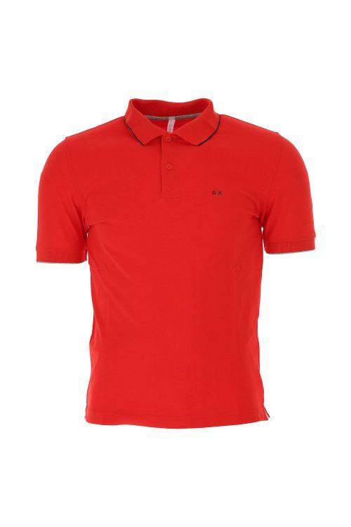 Polo da uomo a maniche corte, colore rosso, con bordino sottile a contrasto sul colletto