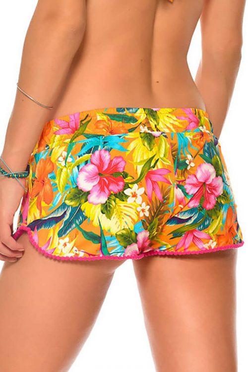 Pantaloncini da spiaggia da donna arancione con stampa floreale e pompon a contrasto sul fondo