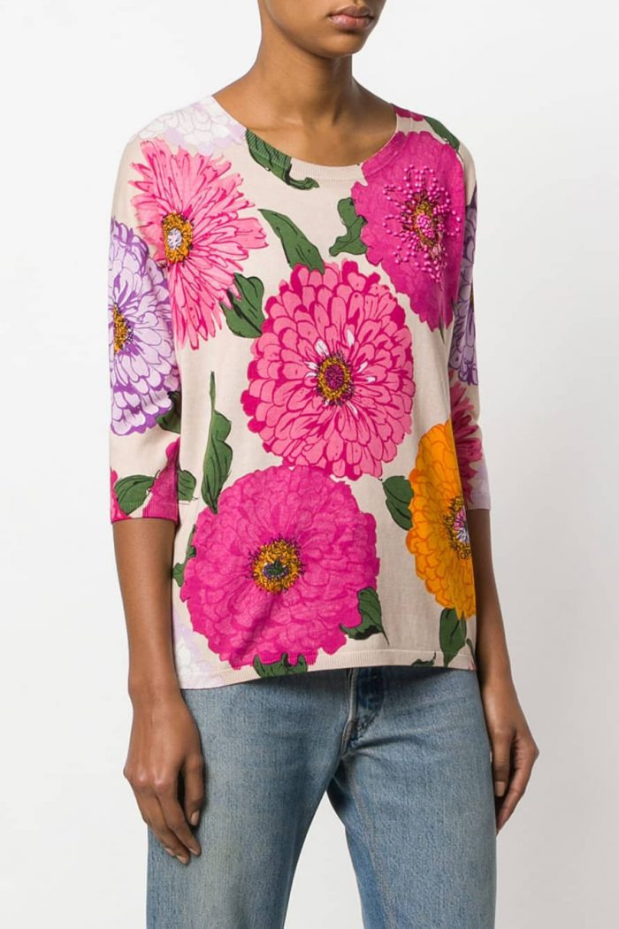 Maglia da donna con stampa multicolore floreale e maniche a tre quarti