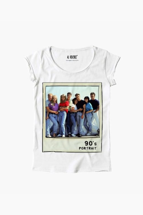 T-shirt au reverse donna girocollo, manica corta, stampa anni 90 Beverly Hills