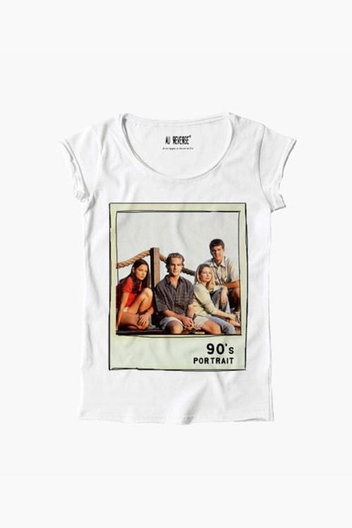 T-shirt au reverse donna girocollo, manica corta, stampa anni 90 Dawson's Creek