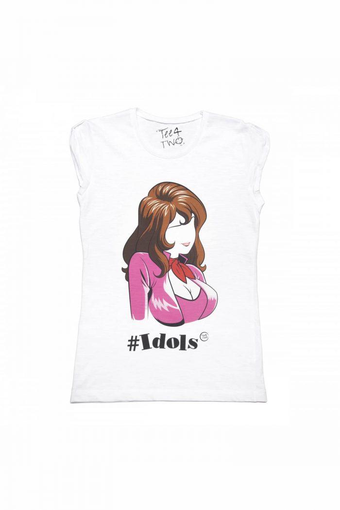 T-shirt tee4two donna girocollo, manica corta, stampa Idols Margot