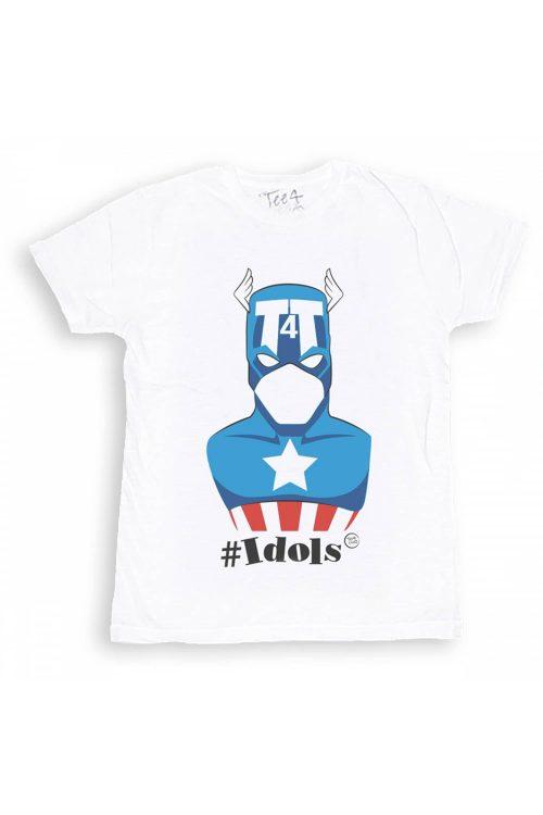 T-shirt tee4two uomo girocollo, manica corta, stampa Idols Capitan America
