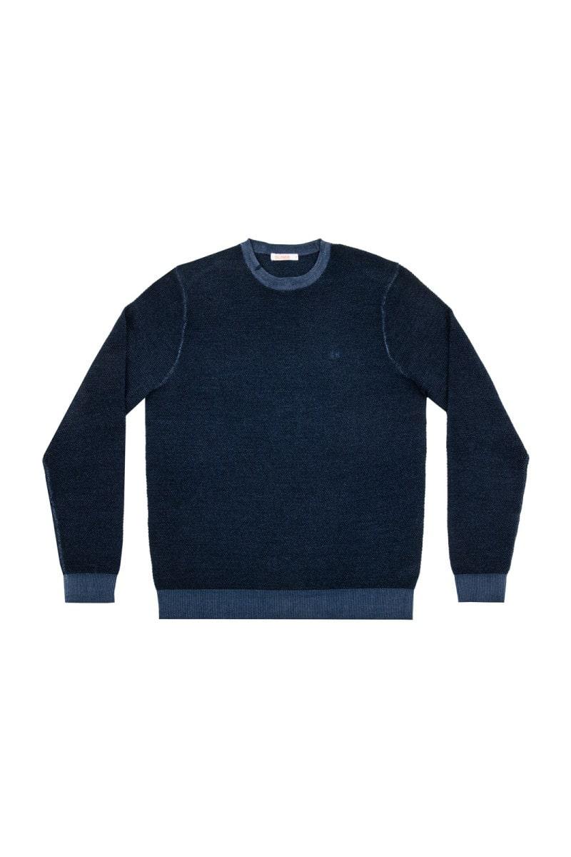 Sun 68 maglia girocollo grana di riso blu navy uomo