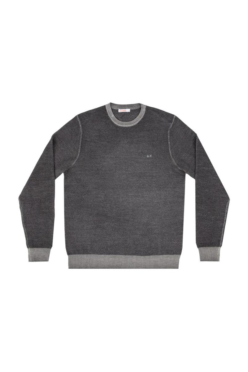 Sun 68 maglia girocollo grana di riso grigio uomo