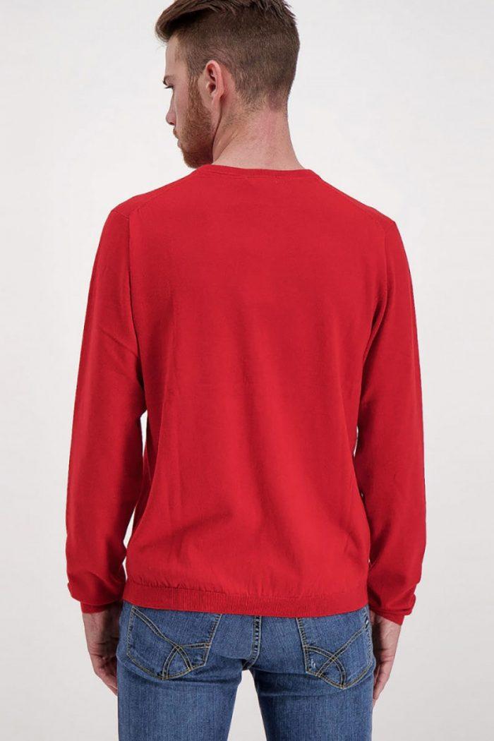 Sun 68 Maglia girocollo in tinta unita rosso uomo