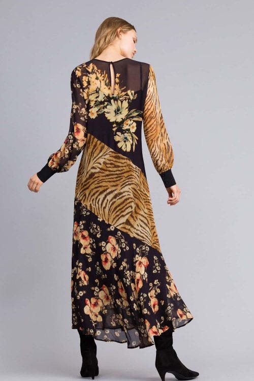 Twinset abito lungo con mix di stampe donna