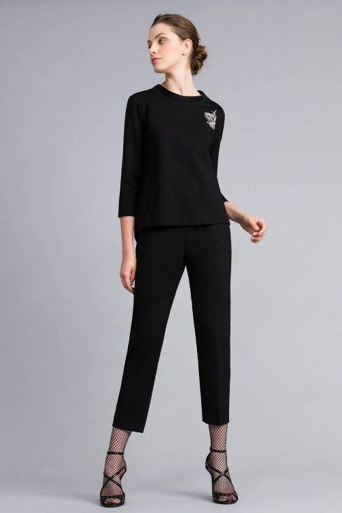 Twinset blusa in punto milano con patch nero donna