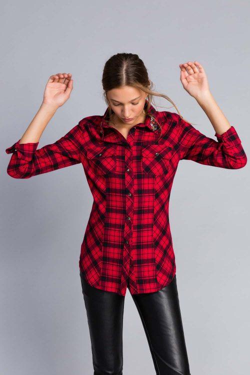 Twinset camicia in flanella quadri bicolore rosso nero donna