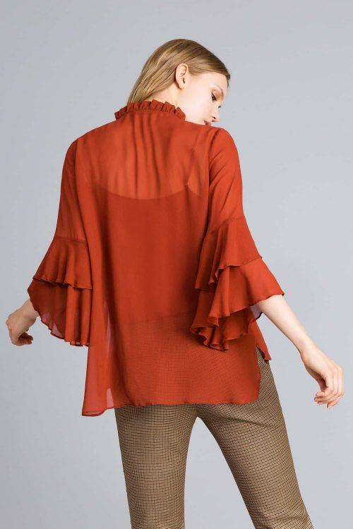 Twinset camicia in georgette con ruches arancione donna