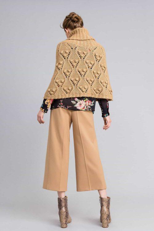 Twinset Cappa in maglia effetto mélange beige donna