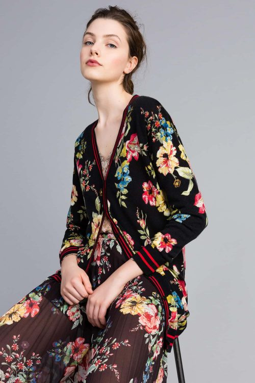 Twinset Cardigan lungo in lana stampata floreale donna