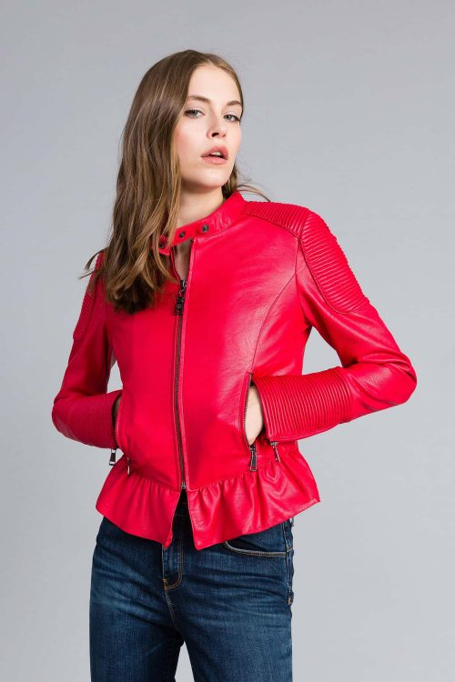 Twinset giacca biker in similpelle rosso donna