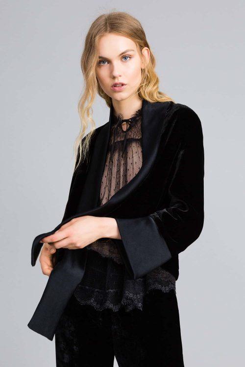 Twinset giacca morbida in velluto nero donna