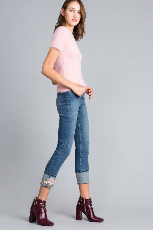 Twinset jeans skinny con ricamo e risvolto denim blu donna