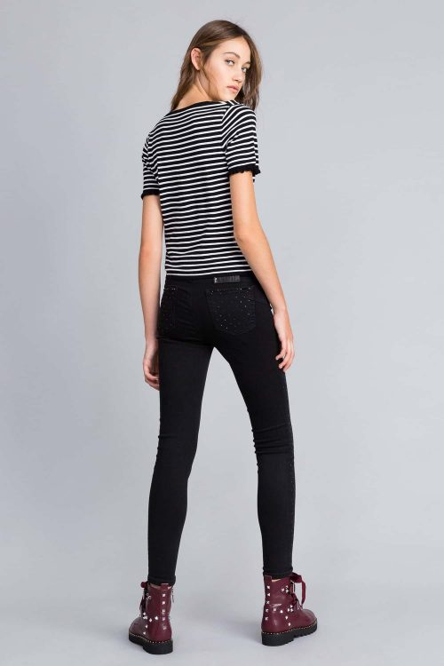 twinset jeans skinny in denim nero con strass donna