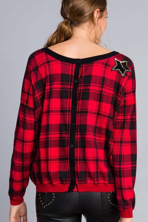 Twinset maglia in misto viscosa stampata rosso nero donna