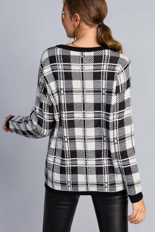 Twinset maxi maglia bicolore bianco nero con stampa volpe donna