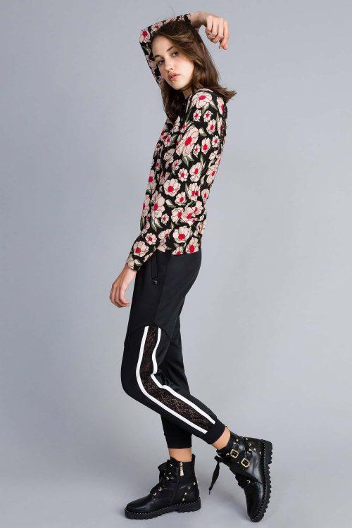 Twinset pantalone jogging con banda laterale e pizzo nero donna