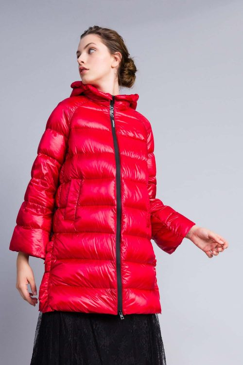 Twinset Piumino lungo lucido con cappuccio rosso donna
