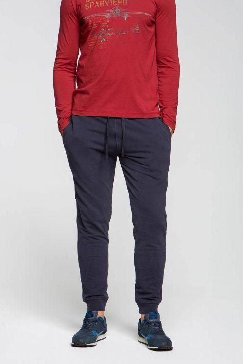 Aeronautica Militare Pantaloni tuta tinta unita elasticizzati blu navy uomo